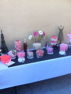 Pink and white candy bar. Idea, vision and creation done by me. Paris theme, Eiffel Tower, candy, pink, white, black