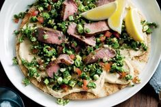 For easy dining, try these lamb and tabouli wraps with roasted garlic hommus.