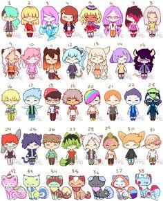 Random Adopts 3 [Open] by Wafkie on DeviantArt Cute Little Drawings, Cute Kawaii Drawings, Kawaii Chibi, Kawaii Art, Make Your Own Character, Art Style Challenge, Drawing Anime Clothes, Fantasy Drawings, Fashion Design Drawings