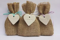 10 x Hessian Bags & 1  1  Love Heart Tags for by RaggedHome, £12.00