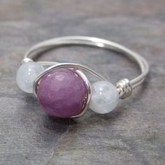 Genuine Ruby Faceted & Aquamarine Silver Wire Wrapped Bead Ring