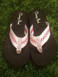 Cocomo Soul FABRIC Stitch Baseball Flip Flops Womens