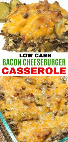Easy bacon cheeseburger casserole that is keto and low carb. This recipe uses ground beef and is great for dinner! Easy bacon cheeseburger casserole that is keto and low carb. This recipe uses ground beef and is great for dinner! Low Carb Dinner Recipes, Keto Dinner, Breakfast Recipes, Dinner Healthy, Healthy Recipes, Protein Recipes, Low Carb Low Salt Recipes, Recipes With Bacon Dinner, Lunch Recipes