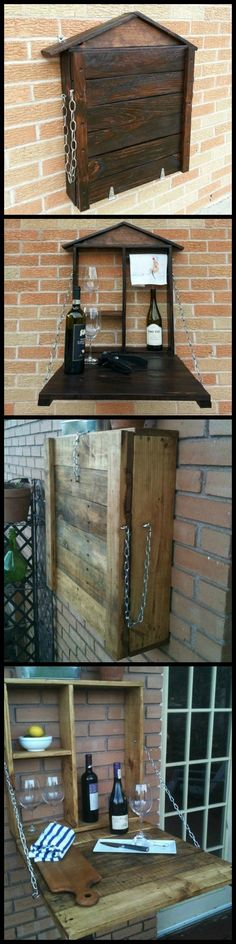 DIY Pallet Fold Down Outdoor Bar  http://theownerbuildernetwork.co/xifm  If you don't have the budget or space for a full size outdoor table, then this fold-away table made from pallets could be a great solution.