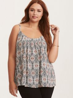 Paisley Print Crossback Pleated Cami Top, PAISLEY WONDERS