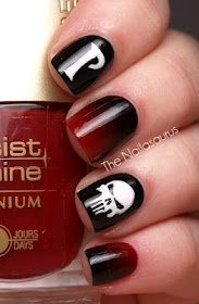 Black and red Punisher nail art.. Awesome!