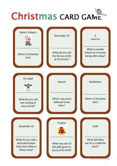 Christmas Card Game worksheet - Free ESL printable worksheets made by teachers Christmas Gift Games, Christmas Activities For Kids, Christmas Worksheets, Christmas Riddles, Where Is Jesus, Christmas Cards Drawing, Printable Worksheets, Printables, Love Mom