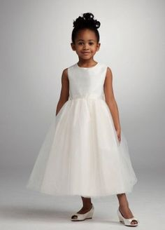 David's Bridal Flower Girl Shantung Tank Dress with Full Tulle Skirt Style M103 Review