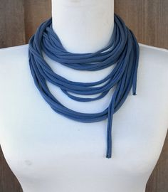 Steel Blue Fabric Necklace/Scarf by LoveDesignsBoutique on Etsy