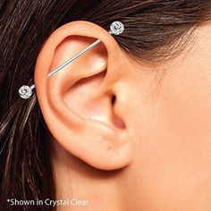 Bar Ear Piercing, Inner Ear Piercing, Ear Piercings Chart, Pretty Ear Piercings, Ear Peircings, Face Piercings, Ear Piercings Cartilage, Body Piercing, Belly Button Piercing Jewelry