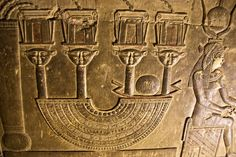 Menat necklace in Dendera.' The crypt below the southern wall of the Hathor Temple at Dendera was used for the safe keeping of several sacred objects and statues used in the rites of Hathor.