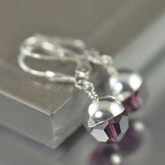Amerthyst Swarovski crystal earrings, February Birthstone