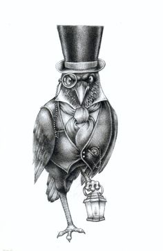 Raven With Top Hat, Vest And Monocle