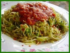 "Zucchini ""noodles"" with tomato sauce-- I actually liked these better than pasta!"