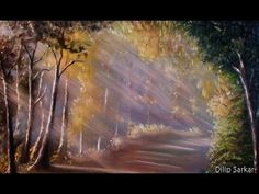 how to draw oil painting, Sun Ray in forest step by step - With Dilip Art - YouTube