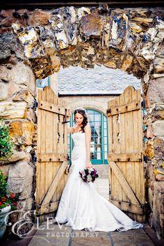 Beautiful wedding shot at the courtyard gates.