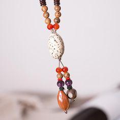 Women Wood Ethnic Vintage Beads Necklaces