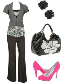 Pink shoes add a nice pop of color to this outfit.