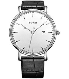 3b602d9d36d37 BUREI Unisex Ultrathin Classic Date Analog Watch with Black Calfskin Leather  Band White Dial