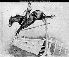 Five-Foot Hurdle Bareback - Frederic Remington - www.frederic-remington.org