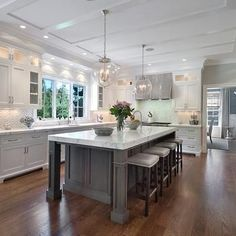 White Kitchen Cabinets with Grey Kitchen Island, Transitional, Kitchen, Blue Water Home Builders Grey Kitchen Island, White Kitchen Cabinets, Kitchen Cabinet Design, Gray Island, Gray Cabinets, Kitchen White, Kitchen Islands, Custom Cabinets, Kitchen Layouts With Island