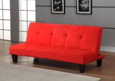 Amazon.com: Red Microfiber With Adjustable Back Klik Klak Sofa Futon Bed Sleeper: Home & Kitchen