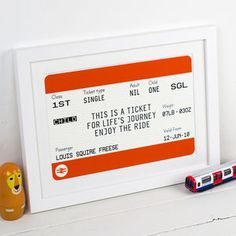 Personalised Childrens Train Ticket Print by Of Life & Lemons, the perfect gift for Explore more unique gifts in our curated marketplace. Ticket Printing, National Rail, British Rail, Train Tickets, Personalized Baby Gifts, Adult Children, Baby Prints, New Baby Gifts, Beautiful Babies