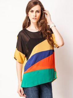 4f9d17f7b5324 VIRO Comfort Top With Colour Blocking from koovs.com Tops Online