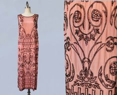 1920s Dress / 20s ADAIR Designer Pink with Black Beaded Flapper Dress / GORGEOUS and Wearable by GuermantesVintage on Etsy https://www.etsy.com/nz/listing/251147533/1920s-dress-20s-adair-designer-pink-with