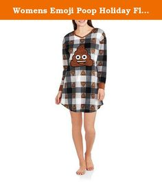 Womens Emoji Poop Holiday Flannel Sleep Shirt Top Pajamas (Large/X-Large / 14-18). Super funny and unique night shirt for that someone who has a unique sense of humor. The Emoji poo night shirt is made of warm, comfy fleece. Chances are you will be the only one who has this hilarious night gown.