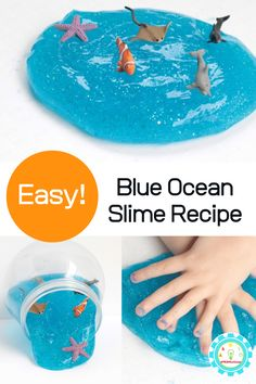 Learn how to make clear blue slime with this fun ocean slime recipe made with blue glitter slime. Kids will have a blast making it at home! Blue Slime, Sand Slime, Rainbow Slime, Borax Slime, Sparkly Slime, Glitter Slime, Blue Glitter, Ocean Activities, Fun Summer Activities