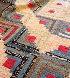 LAST DAY OF STORE WIDE 20% oOFF SALE...antique log cabin quilt - quilting is gorgeous on Etsy, £145.00...LESS 20%!!!