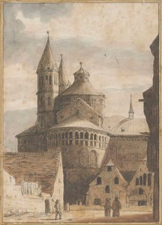 Lambert Doomer (Amsterdam 1624-1700) | The Sankt Aposteln basilica, Cologne, seen from the North (recto); A partial study of the same (verso) | 17th Century, Drawings & Watercolors | Christie's Vintage Drawing, Still Standing, Otters, 17th Century, Cologne, Brown And Grey, Watercolors, Barcelona Cathedral, Amsterdam