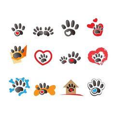Material de diseño vectorial Huellas animales logo