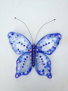 Blue fused glass butterfly by AJWightDesigns on Etsy, $199.99