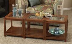 Sectional Tables Woodworking Plan from WOOD Magazine Woodworking Table Plans, Woodworking Clamps, Woodworking Furniture, Build A Coffee Table, Coffee Table Plans, Diy Trellis, Wood Magazine, Entryway Tables, Shelves