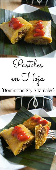 Pasteles en Hoja (Dominican Style Tamales) - Best of Smart Little Cookie Tamales, Tasty, Yummy Food, Good Food, Comida Fusion, Dominican Food, Dominican Recipes, Mexican Food Recipes, Ethnic Recipes