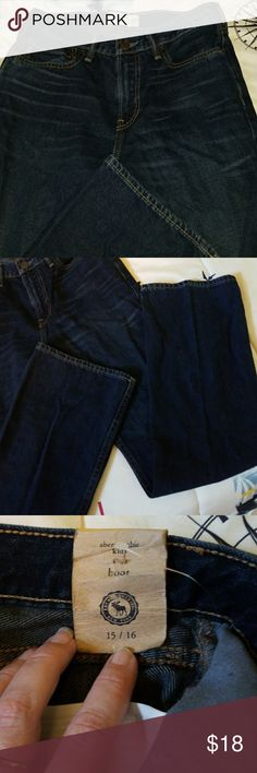 Abercrombie jeans Have my son cleaning out his closet & SURPRISE!!A brand new pair of Abercrombie jeans that were lost to the closet abyss. He can't fit them & too late to return. These are the dark wash, size 15/16 & are boot cut. Thank you for visiting my closet and if you have any questions please don't hesitate to ask! And as always, reasonable offers will be considered. Happy Poshing 💖💖 abercrombie kids Bottoms Jeans