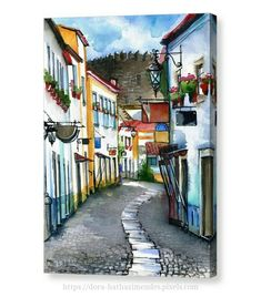 """Purchase a11.00""""x14.00""""stretched canvas print of Dora Hathazi Mendes' Obidos Portugal for promotional price"""