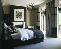 Bedroom Design, Marvelous Contemporary Bedroom With Black And White Theme Also Modern Double Bed With Black Bed Runner And White Comforter A...