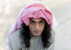 Djebel Samhan, bedouin young man with keffiyeh, Oman