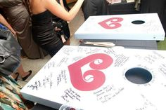 Wedding Guestbook Alternative - Phillies baggo boards signed by guests Baseball wedding