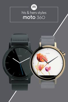 What face will you put on for the world today? With the fully customizable Moto 360, you can choose from a selection of his and hers watch faces and styles. Switch it up as the mood strikes when you choose the smartwatch designed with your personal style in mind.