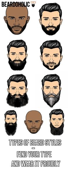 Types of Beard Styles - Find Your Type and Wear It Proudly - Beard Care - Different Types Of Beards, Types Of Beard Styles, Beard Styles For Men, Hair And Beard Styles, Facial Hair Styles, Goatee Styles, Moustache, Beard No Mustache, Leave In