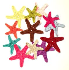 Colorful Crochet Starfish Appliques Embellishments