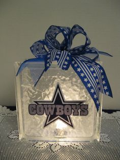 This would be great filled with candy to give as a gift! Dallas Cowboy Fans glass block