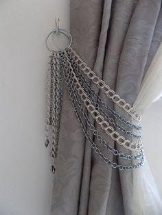 SALE Silver chains curtain holder, decorative silver chains tieback with glass pendants, drapery holder Curtain Tie Backs Diy, Curtain Ties, Diy Curtains, Curtains For Arched Windows, Sheer Valances, Farmhouse Window Treatments, Decoration Evenementielle, Curtain Holder, Curtain Designs