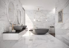 WohnDirWas - planning your dream bathroom correctly, You dream of such bathrooms, don't you? How to plan your own dream bathroom. You can find more ideas, inspiration and tips for your bathroom at www. Modern Master Bathroom, Dream Bathrooms, Modern Marble Bathroom, White Bathrooms, Master Bathrooms, Simple Bathroom, Modern Bedroom, Bad Inspiration, Bathroom Inspiration