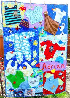 Clothes Memory Quilt Baby Clothes Memory Quilt Embellished with Crochet Appliqués, First Year Clothes memory quiltBaby Clothes Memory Quilt Embellished with Crochet Appliqués, First Year Clothes memory quilt Quilt Baby, Baby Memory Quilt, Memory Quilts, Onesie Quilt, Baby Clothes Blanket, Cool Baby Clothes, Diy Clothes, Babies Clothes, Sewing Clothes