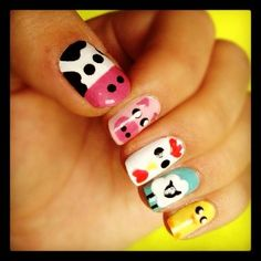 Little farm nails :) I wanna do this! Animal Nail Designs, Girls Nail Designs, Diy Nail Designs, Farm Animal Nails, Animal Nail Art, Really Easy Nails, Simple Nails, Nails For Kids, Girls Nails